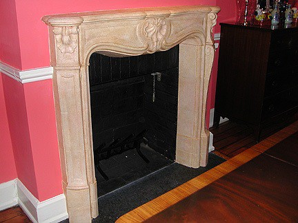 Faux Sandstone mantel painted by Ashley Spencer