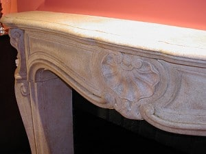 Faux Sandstone mantel closeup painted by Ashley Spencer