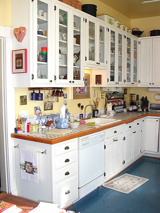 Before Aged Kitchen Cabinets