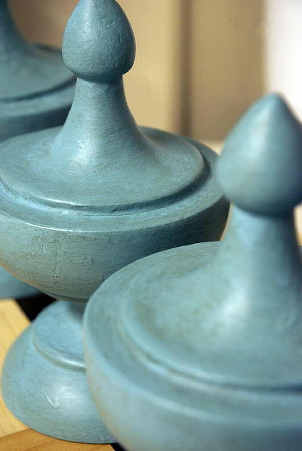 Close-up Detail Finials After Decorative Chalk Paint Treatment