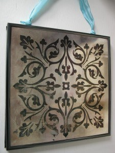 Aged Mirror with Modello Pattern, faux finish by Ashley Spencer