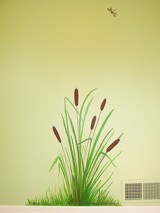 Cattails by door painted by Ashley Spencer
