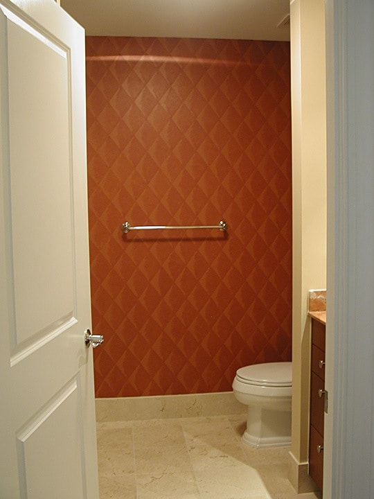 After: Faux Padded Harlequin creates a focal wall