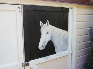 Horse in Stable, close up, murals, outdoor murals