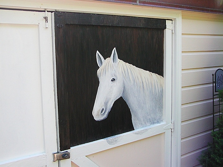 Horse in Stable, close up, murals, outdoor murals