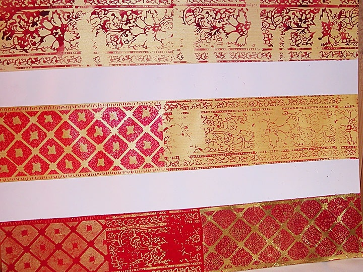 Indian Fabric Stamping, finishes, close up finishes, Ashley Spencer