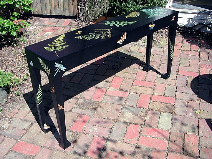 Hall Table After--Painted black with custom design of ferns, moths, bees and dragonfly, furniture, finishes, before & after transformations, ashley spencer