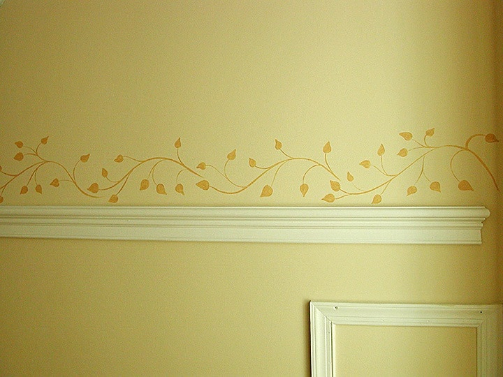 Freehand Leaf Pattern Detail, Handpainted Leaf Pattern, Mural, Close Up Mural, Handpainted, Finishes, Lettering & Accents
