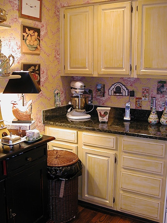 French Country Glazed Kitchen Cabinets section - Ashley Spencer