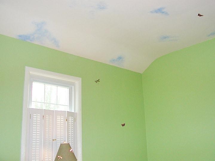 Cloud Nursery Corner painted by Ashley Spencer