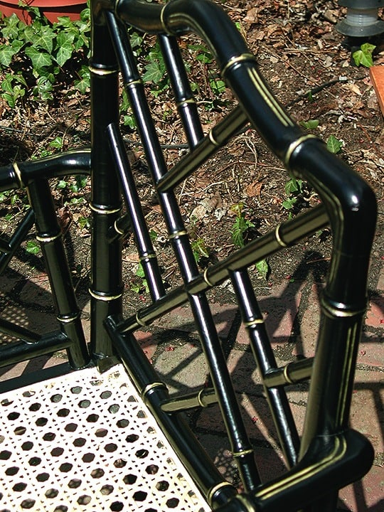 Bamboo Chair After--Painted Black Impervo with Gold Highlights