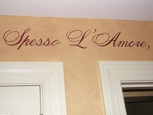 Detail of handpainted vive bene quote by Ashley Spencer