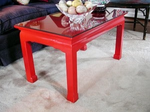 Red Lacquer Table Before, furniture, before & after transformations, finishes, close up finishes, detail, ashley spencer