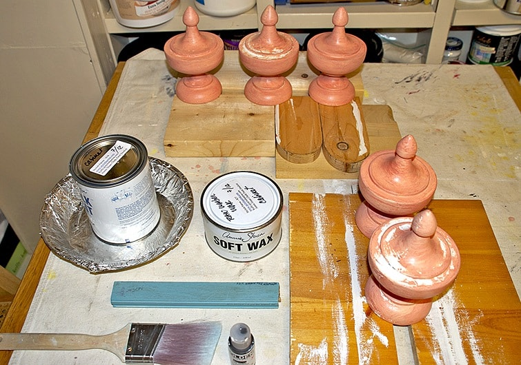 finials before and decorative materials used by Ashley Spencer
