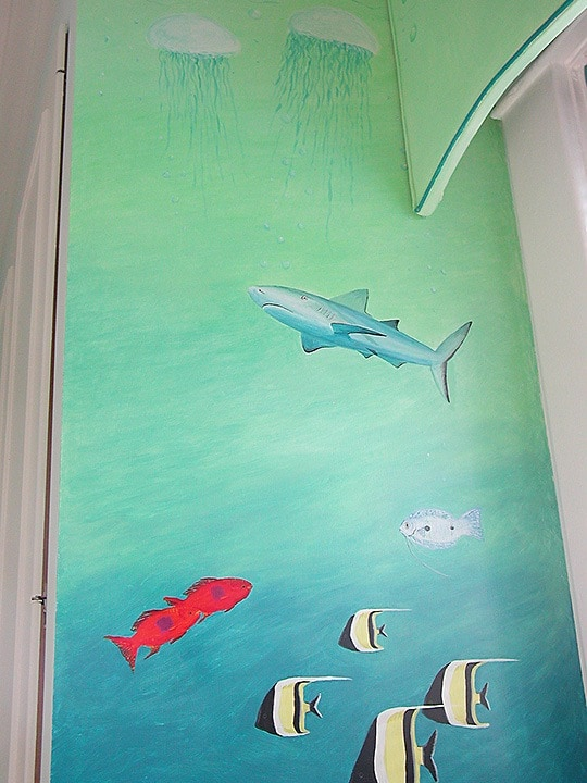Shark & Sea Life Mural Detail painted by Ashley Spencer