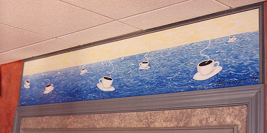 Floating Coffee Cups St. Elmo's Coffee Pub, Del Ray, Alexandria, VA, murals, Public Art, Ashley Spencer