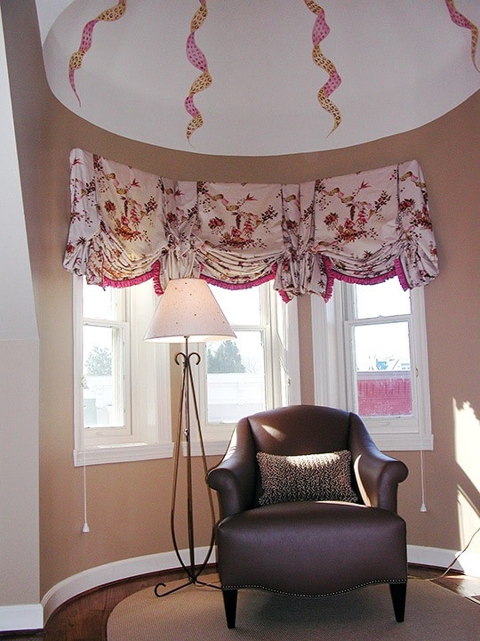 Turret Ribbons add visual interest to a challenging space, murals, Before and After Transformations, Ashley Spencer