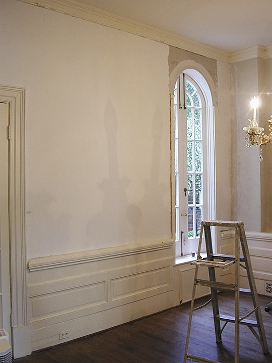 Water Damage (left side) Ruins Existing Decorative Finish, Finishes, Repair & Restoration, Ashley Spencer, Water Damage