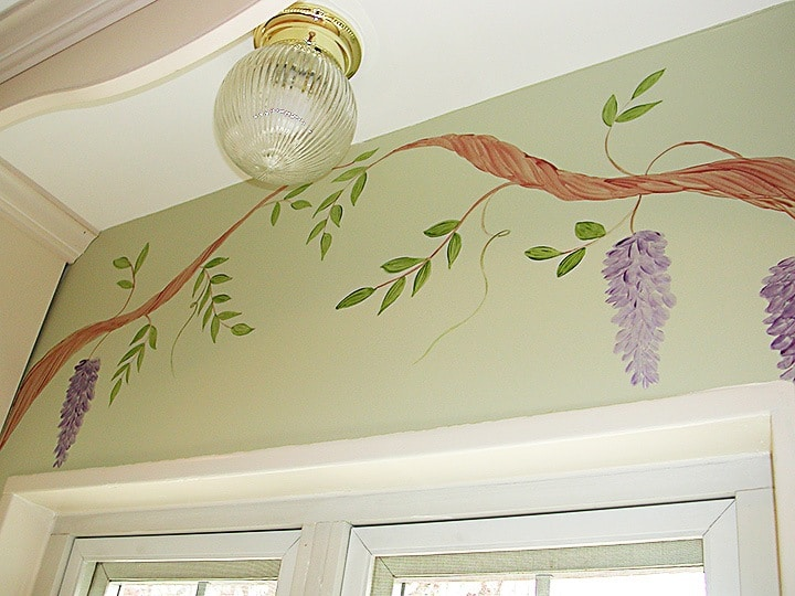 Handpainted Wisteria, murals, Before and After Transformations, Ashley Spencer