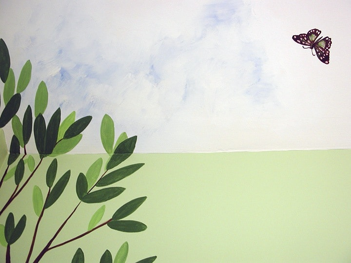 Butterfly Cloud Nursery detail painted by Ashley Spencer