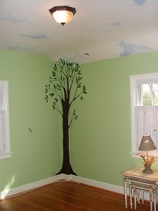 Country Air Nursery Mural/Handpainted Tree, Clouds and Butterflies