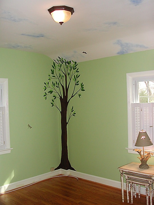 Country Air Nursery Mural/Handpainted Tree, Clouds and Butterflies