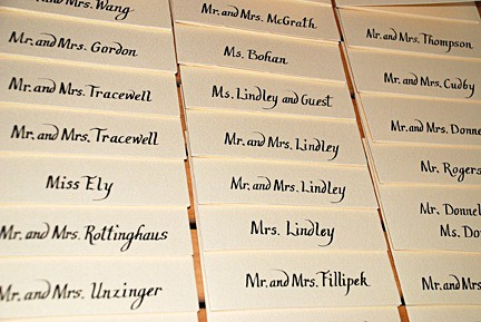 Metallic Placecards Custom Chancery Cursive Calligraphy, Calligraphy, Invitation, Placecards, Ashley Spencer