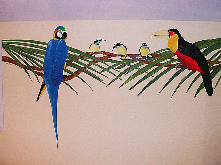 Birds on branches detail, tropical nursery mural painted by Ashley Spencer