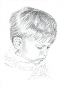 A Grandson's Portrait in Graphite, Fine Art, Ashley Spencer, Portrait, Graphite