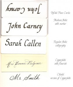 Calligraphy Styles on Placecards