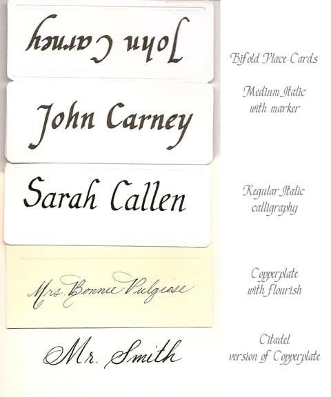 Calligraphy Styles on Placecards, Fine Art, Calligraphy, Placecards,