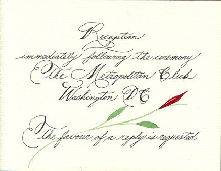 Calligraphy with Watercolored Rose, Fine Art, Ashley Spencer, Calligraphy, Watercolor