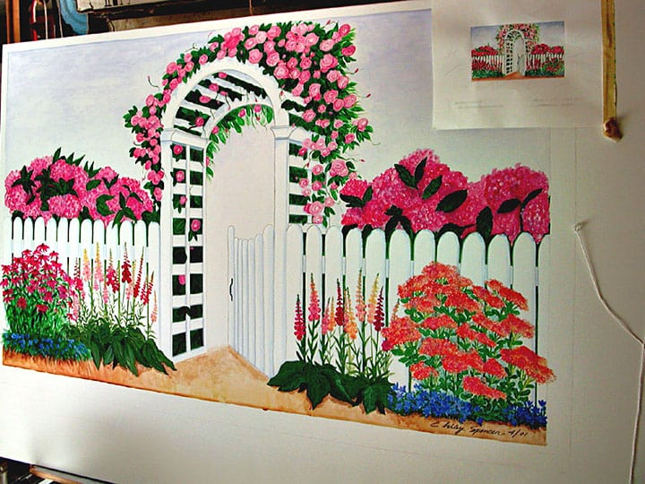Mounted Trellis Floor Mural w-sample by Ashley Spencer