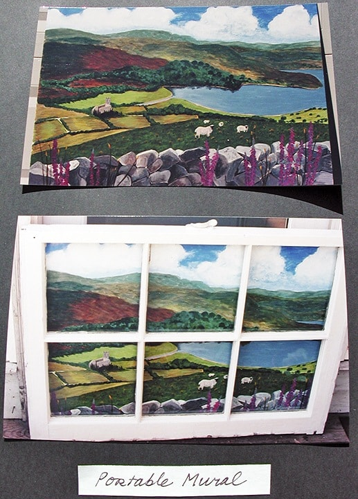 Portable Mural--Custom Painted Ireland Landscape on Wood Panel, Mounted to Back of Glass Paned Window, Fine Art, Ashley Spencer, Illustrations, Mural, Close-Up Murals, Detail