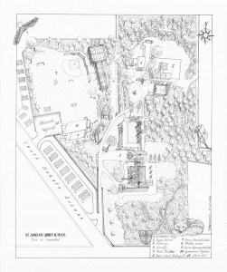 St. Anselm's Abbey School Illustrated Aerial Map, Fine Art, Ashley Spencer, Illustration