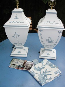 Custom Toile Patterned Painted Lamps