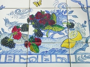 Detail of Hand Painted Tiles by Ashley Spencer