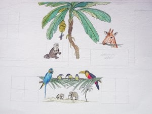 Tropical Mural Layout, Fine Art, Ashley Spencer
