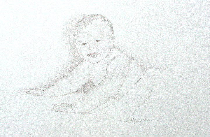 Pencilled Baby Portrait illustrated by Ashley Spencer