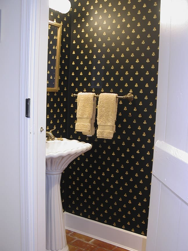 Custom Bee Stamp in Powder Room by Ashley Spencer