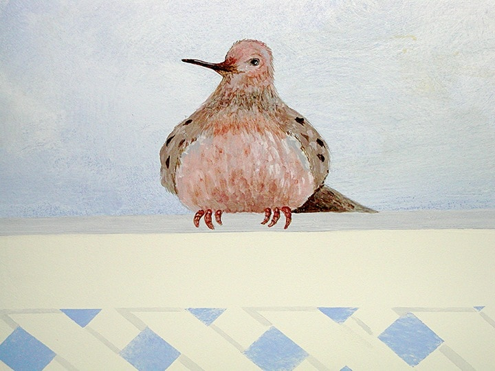 Dove detail in ceiling cloud mural painted by Ashley Spencer