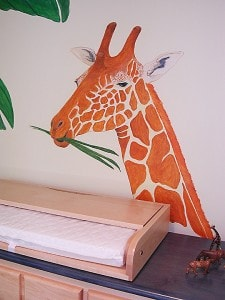 Giraffe watches over changing table