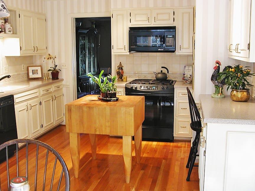 Brushed-on Glazed Kitchen Cabinets Full View - Ashley Spencer