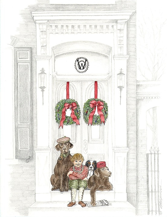 Detail of Illustrated Christmas Card drawn by Ashley Spencer