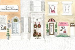 Illustrated Christmas Card Unfolded drawn by Ashley Spencer