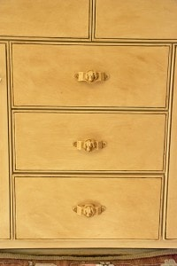 Close Up of Aging Drawer Detail with Dogs Heads on ashley-spencer.com