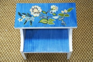 Footstool After detail painted by Ashley Spencer
