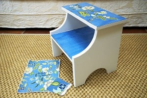 Footstool After painted by Ashley Spencer with pattern reference