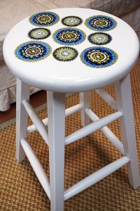 Full Stool view after painting by Ashley Spencer