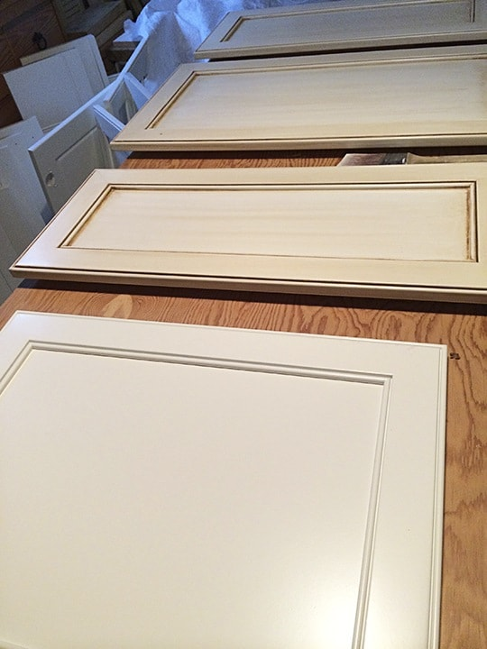 Original Finish over White Cabinet Fronts on ashley-spencer.com
